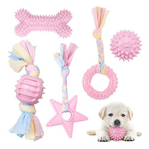 Set di Giocattoli per Cani Masticatori, 5 Pezzi Giocattoli per Dentizione per Cani Cuccioli Piccoli e Media Taglia, Giochi Cane da Mordere Resistente per la Pulizia dei Denti, Rosa