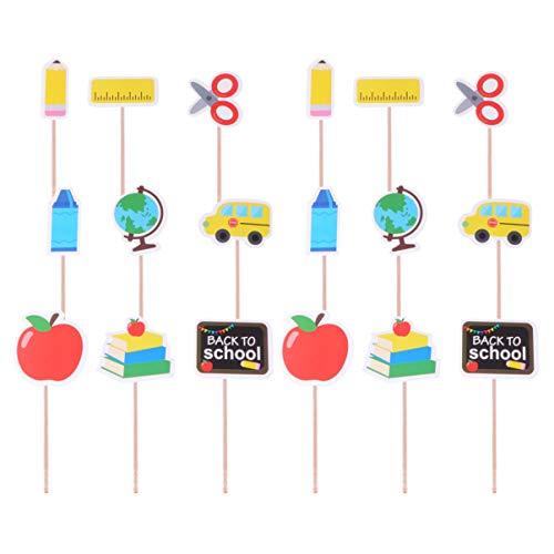 STOBOK Cake Topper Back to School Cupcake Topper Essen Vorspeise Picks Mini Schule Themen Kuchen Dekoration Party Liefert 18 Stück