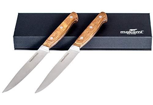 makami Grand - Juego de 2 cuchillos para carne (hoja afilada y lisa, mango de madera de pakka)