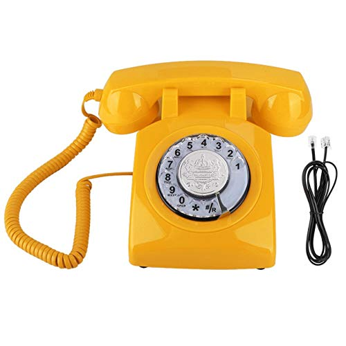 Agatige RotaryTelephone, Retro RotaryDial Teléfono Vintage Teléfono Fijo Teléfono de Escritorio para el hogar(Amarillo)