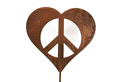 Metal Heart-Shaped Peace Sign Garden Stake - Sizes Medium, Large, Extra Large