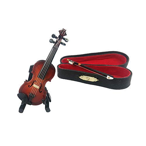 ROOTLISA 3.6Inch Mini Handheld Violin Toy Miniature Musical Instruments Collection Wooden Decorative Ornaments Gift with Stand Support and Case.