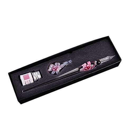 QiKun-Home Pluma de Murano Hecha a Mano Creativa Patrón de Flores Pluma estilográfica Transparente Pluma de Firma de Tinta Pastel Dorado Regalos Rosa