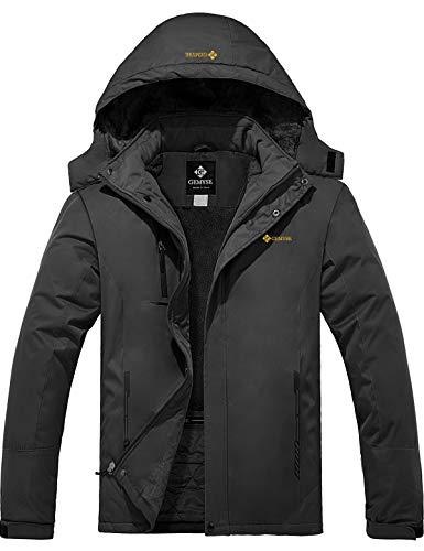 GEMYSE Men's Mountain Waterproof Ski Snow Jacket Winter Windproof Rain Jacket (Iron Grey,Large)