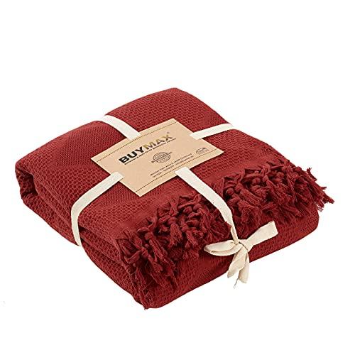 Pique Tagesdecke 220x240 cm Waffeloptik mit Fransen 100prozent Baumwolle Überwurf Sofadecke Baumwolldecke Wohndecke Quilt Pikee Uni Einfarbig, Farbe Bordeaux Rot