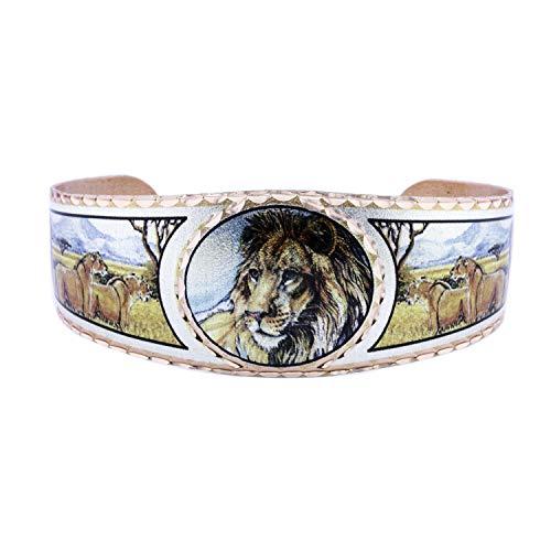 Brazaletes de cobre de la vida silvestre de los hombres y las mujeres, muchachos y muchachos, brazalete ajustable, hecho a mano Multicolor