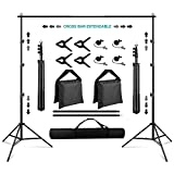 Backdrop Stand 8.5×10ft, SEDGEWIN Adjustable Photography Background Support System Kit for Photo Video Studio Screen with Carry Bag,spring Clamps Backdrop Muslin Clip Holder