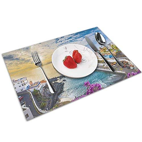 Pag Crane Mesa de Comedor, Mantel Individual Lavable, Antideslizante, Resistente al Calor, para Mesa de Cocina, Juego de 6 Hermosas Islas de Tenerife