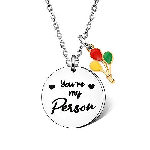 Collar con texto en inglés 'You're My Person', para mujeres, parejas, mejores amigos, regalo para San Valentín, cumpleaños