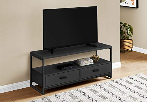 """Monarch Specialties Entertainment Center/Media Console - 2 Storage Drawers & 1 Shelf - for Living Room or Bedroom - Modern TV Stand, 48"""" L, Black"""