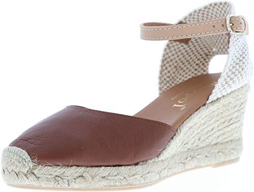 maypol Damen Sandaletten Keil Espadrilles High Heel braun, Größe:40, Farbe:Braun