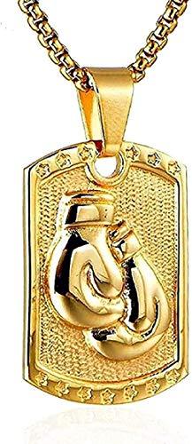 ZGYFJCH Co.,ltd Collar Oro Plata Dominante Guantes de Boxeo Colgante Energy Dog Tag Collar Niño Acero Inoxidable Cadena de Pulgar Cadena Joyería Regalo para Mujeres Hombres Regalo