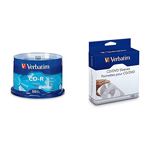 Verbatim 94691 CD-R 700MB 80 Minute 52x Recordable Disc - 50 Pack & CD/DVD Paper Sleeves-with Clear Window 100pk