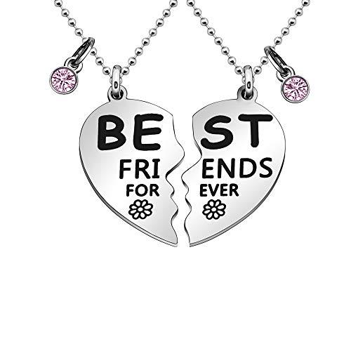 Maxforever Collares BFF de regalo de la amistad 'Best Friend Forever' (plata/rosa)