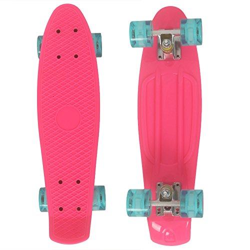 WeSkate Skateboard 56x16cm Monopatin Complete con 4 PU Ruedas Luminosas y Rodamiento...