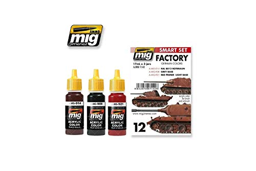 AMMO MIG-7142 German Out of Factory Colors Acryl Smart Set, Mehrfarbig
