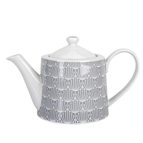 Krasilnikoff - Teekanne - Blossom - grau, weiß - Porzellan - Höhe: 14 cm - 1 L