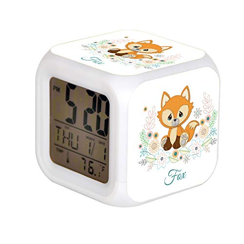 JHSIT 7 Color Change LED Digital Alarm Clock with Date Alarm Thermometer Desktop Table Cube Alarm Clock Child Home Woodland Baby Sweet & Clever Fox Design
