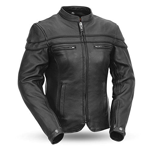 First MFG Co. - The Maiden - Women's Motorcycle Leather Jacket (Black, Large)