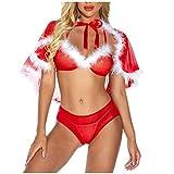 Conjunto de lencería navideña para Mujer Ropa Interior de Tres Piezas de Navidad Lencería de Moda Cuello en V Babydoll Camisón