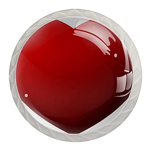 Red-heart1 - Pomo de cristal para armario de cocina (3,5 cm, 4 unidades)