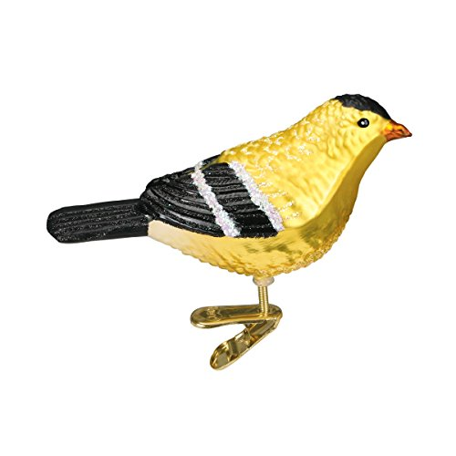 Old World Christmas Ornaments: American Goldfinch Glass Blown Ornaments for Christmas Tree (18045)
