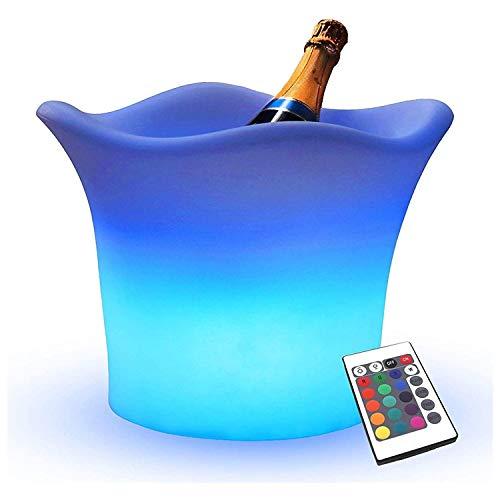 ESGT Cubo De Hielo Que Cambia De Color LED a Prueba De Agua con Pilas para El Enfriador De Bebidas De Cerveza Y Vino De Champán - Cambio De 7 Colores