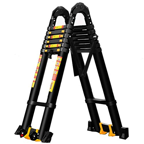 Aluminum Telescoping Ladder - Multi-Purpose Black Tall Extension Ladders for Industrial Household Daily or Emergency Use, 3.4m/5.8m/7.4m, Load 150kg (Size : 2.1m+2.1m=4.2m Straight Ladder)