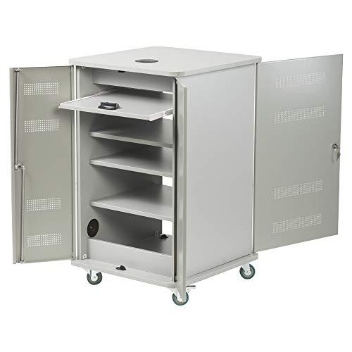 Nobo 1902339 Aluminiumschrank, vorne und hinten zu öffnen, 3 höhenverstellbare Regalböden, 574 x 604 x 950 mm, 1 Stück
