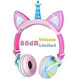 VERORAS Einhorn Kinder Kopfhörer, Leuchtende Katze Ohr LED-Kopfhörer am/über dem Ohr, Wired, Adjustable, Faltbares, 85dB Volume Limited (Blütenblatt Einhorn, Blau-Pink)