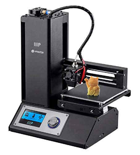 Monoprice 134619 Select a mini V2 3D printer with heated construction board, ready-mounted+free pattern PLA filament and pre-installed microSD card with printable 3D models,120 mmx120 mmx120 mm, black