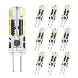 DiCUNO Bombilla LED G4, 10 × 1.2W 24 * 3014 equivalente a la lámpara halógena de 10W, No regulable, AC/DC 12V, Blanco frío 6000K, 120LM, Ángulo de haz de 360°