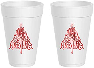 Christmas Styrofoam Cups - Merry Christmas Trees (10 cups)