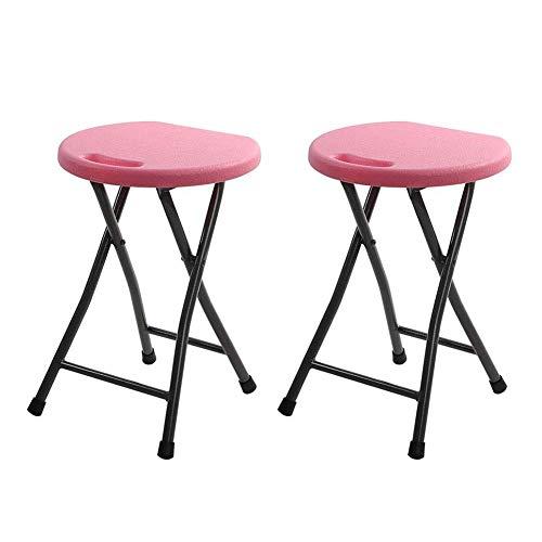 JIEER-C vrijetijdsstoel, klapkruk, hoge stoel, rond, ijzeren buis, ontbijt, keuken, barkruk, meubel, compact, robuust, 2 stuks Roze