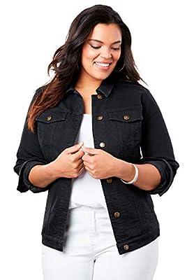 Roamans Women's Plus Size Essential Denim Jacket