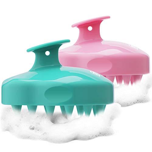 FReatech 2-stücke [Nass & Trocken] Kopfhaut Massagebürste, Silikon Shampoo Haarbürste für Peeling und Kopfmassage, Pflege der Haarwurzeln, Healthy Head ohne Schuppen, Fördert Haarwachstum, Rosa & Grün