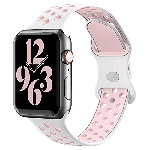 Gleiven Compatible with Apple Watch Band 38mm 40mm,Breathable Soft Silicone Sport Replacement Strap Women Men For iWatch Series 6/5/4/3/2/1/SE.