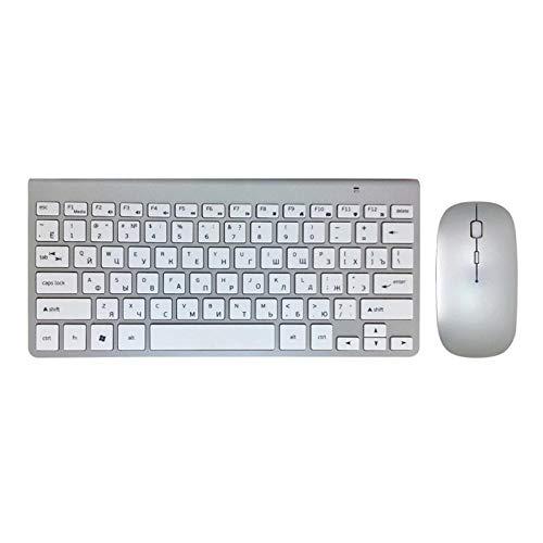Ys-s Personalización de la Tienda Radio Ultra Delgado Teclado Mouse Combo 2.4G Ratón de Radio para para para para por de Apple Keyboard Style Mac Win XP / 7/8/10 TV Teclado Ruso (Color : KS MS)