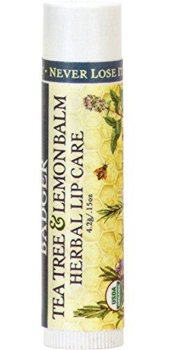 Badger - Herbal Lip Balm, Tea Tree & Lemon, Certified Organic Lip Balm, Fair Trade, Natural Lip Balm, Herbal Lip Care, 0.15 oz