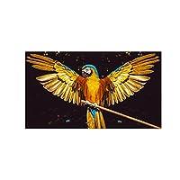 キャンバス絵画壁アートプリントゴールデンオウム鳥動物ポスターとプリントモジュラー画像装飾絵画(60x90cm)フレームレス