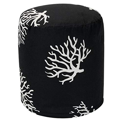Majestic Home Goods Black Coral Indoor/Outdoor Bean Bag Ottoman Pouf 16