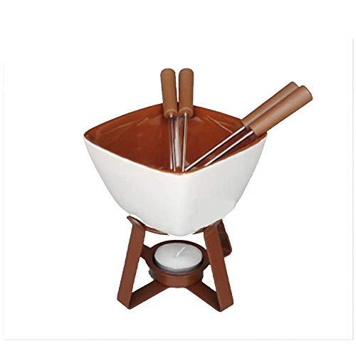 Fondu Fondue Keramische Chocolade Hot Pot Ice Cream Hot Pot Kaas Smelten Met 4 Roestvrij Staal Vorken Keramisch Anti-aanbakblik De Prefect Keuken Accessoire