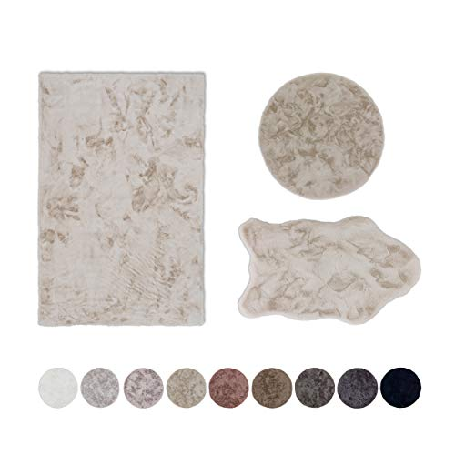 Schöner Wohnen Kollektion Kunstfell Teppich Tender – hochflor Shaggy Matte – Modellart Shape – luxuriöser Fellteppich – Vorleger mit Fellimitat – (Creme, 60 x 90 cm)