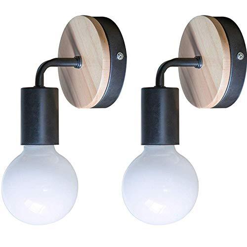 2pcs STOEX Apliques Moderno Nórdico Diseño forma 7 Lámpara de Pared Redonda Simple Base de Madera Exquisito Iluminacion de Loft Oficina Dormitorio Cocina Pasillo Cama Nocturna(Negro)