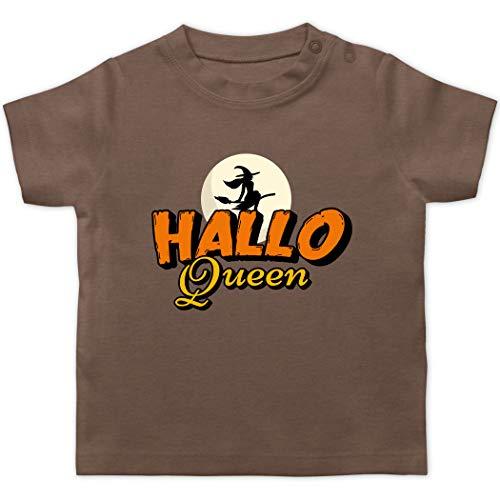 Halloween Baby - Hallo Queen - 3/6 Monate - Braun - Geschenk - BZ02 - Baby T-Shirt Kurzarm