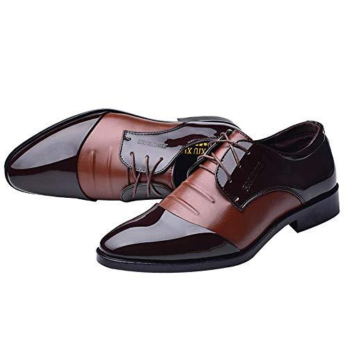 DeHolifer Herren Business Anzugschuhe, Spitzschuhe England Stil Oxfords Feine Lederschuhe Glänzend Faule Schuhe Herrenschuhe Klassisch Retro Brogue Schuhe Hochzeit Schuhe Lederschuhe 38-47