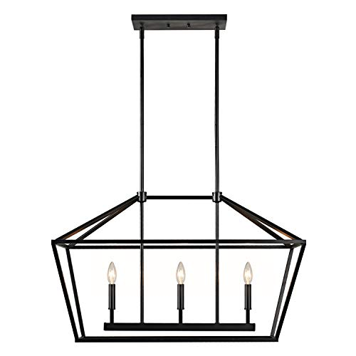 MOTINI 3-Light Kitchen Island Lantern Pendant Linear Chandelier Black Rod Hanging Light 32