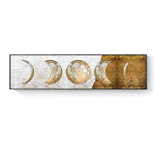 Fase lunar Pintura en lienzo Luna dorada Arte de la pared Carteles Impresiones Planeta de gran tamaño Cuadros de pared solares para la decoración de la sala de estar 50x200cm (20x79in) Sin marco