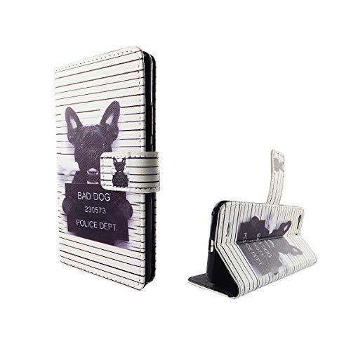 König Design Handyhülle Kompatibel mit ZTE Blade V6 Handytasche Schutzhülle Tasche Flip Hülle mit Kreditkartenfächern - Bulldogge Weiß