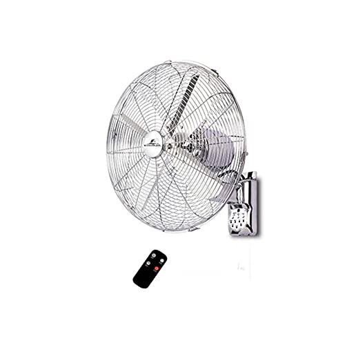 Ventilador eléctrico 18'Ventilador De Pared Material De Pared Montado En Pared 3 Velocidad 4 Cuchillas, 4 Horas De Tiempo, para Sala De Estar Dormitorio Comedor, Plata(Color:Control Remoto)